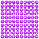100 USA icons set purple. 100 USA icons set in purple circle isolated on white vector illustration Royalty Free Stock Photo