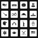USA icons set in simple style Royalty Free Stock Image