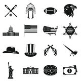 USA icons set, simple style Royalty Free Stock Images