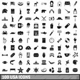 100 USA icons set, simple style. 100 USA icons set in simple style for any design vector illustration royalty free illustration