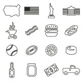 USA Icons Thin Line Vector Illustration Set Royalty Free Stock Image