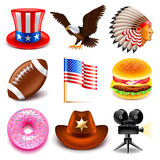 USA icons vector set Royalty Free Stock Image