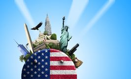 USA, ikona z flaga amerykańską i widoki na błękitnym tle, Zdjęcia Royalty Free