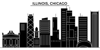 Usa, Illinois, Chicago architecture vector city skyline, travel cityscape with landmarks, buildings, isolated sights on vector illustration