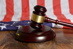 USA Immigration Laws with wood gavel concept.  royalty free stock photos