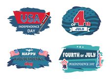 USA Independence Collection Vector Illustration. USA Independence day collection, set of banners with date variations, posters and flags, stickers vector vector illustration