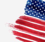 USA Independence day background. USA abstract flag brushed background. Vector abstract grunge brushed flag with text. Template for holiday banner, greeting card Royalty Free Stock Images