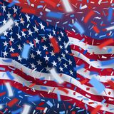 USA independence day background with confetti. American independence day celebration banner with colorful flying confetti and national flag of of United States stock illustration