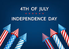 USA   Independence  Day background  with  firework  rockets. Stock Photo