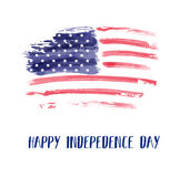 USA Independence day background. Happy 4th of July. Vector abstract grunge brushed flag with text. Template for banner, greeting card, invitation, poster Stock Photos