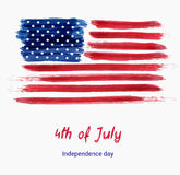 USA Independence day background. Happy 4th of July. Vector abstract grunge brushed flag with text. Template for banner, greeting card, invitation, poster Stock Photo