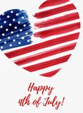 USA Independence day background. Happy 4th of July. Vector abstract grunge flag in heart shape with text. Template for banner, greeting card, invitation Royalty Free Stock Photo