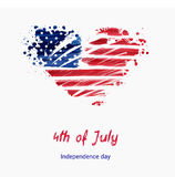 USA Independence day background. Happy 4th of July. Vector abstract grunge flag in heart shape with text. Template for banner, greeting card, invitation Stock Photos