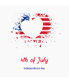 USA Independence day background. Happy 4th of July. Vector abstract grunge flag in heart shape with text. Template for banner, greeting card, invitation Stock Photography