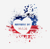 USA Independence day background. Happy 4th of July. Vector abstract grunge flag in heart shape with text. Template for banner, greeting card, invitation Stock Image