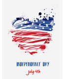 USA Independence day background. Happy 4th of July. Vector abstract grunge flag in heart shape with text. Template for banner, greeting card, invitation Stock Images