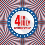 USA Independence Day background. 4 July national celebration. Patriotic template with text, stripes and stars for Stock Illustration