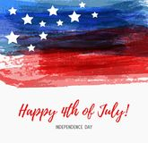 USA Independence day background. Happy 4th of July. Vector abstract grunge brushed flag with text. Template for banner, greeting card, invitation, poster Royalty Free Stock Image