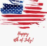 USA Independence day background. Happy 4th of July. Vector abstract grunge flag with text. Template for banner, greeting card, invitation, poster, flyer, etc Stock Image