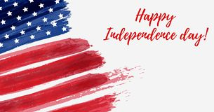 USA Independence day background. Happy 4th of July. Vector abstract grunge flag with text. Template for horizontal banner, greeting card, invitation, poster Stock Photos