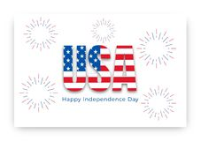 USA Independence Day. Banner layout with Happy Independence Day USA typography and fireworks.  Royalty Free Stock Photos