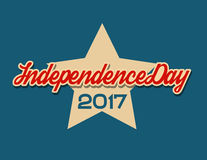 USA independence day banner with star. 2017 retro style vector illustration blue background Stock Photos