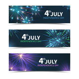 USA Independence day banners vector set with. USA Independence day banners set with fireworks. American day, america holiday, celebration july, national freedom Royalty Free Stock Photography