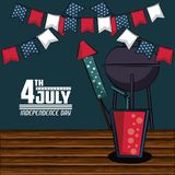 USA independence day card with fast food. USA independence day card vector illustration graphic design Stock Photos