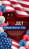 USA Independence day celebration flyer. USA Independence day celebration poster. Fourth of July felicitation greeting vector illustration. Realistic american Royalty Free Stock Image