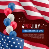 USA Independence day celebration poster. Fourth of July felicitation greeting vector illustration. Realistic american flag and air balloons on starry Stock Photo