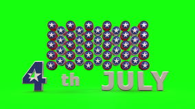 USA Independence day with chroma key Background. 3 d animation stock video
