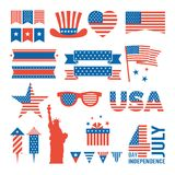 Usa independence day. Design elements for various cards, logos and banners of 4 july. Independence day Royalty Free Stock Image
