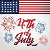 USA independence day design. Usa independence day card with country flag and fireworks burst over white background. colorful design. vector illustration Royalty Free Stock Image