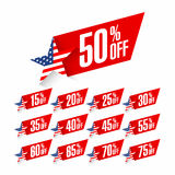 USA Independence Day discount labels stock illustration