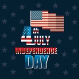 USA independence day with flag. Vector illustration design Stock Image