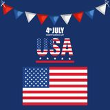 USA independence day with flag. Vector illustration design Royalty Free Stock Image
