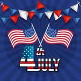 USA independence day with flag. Vector illustration design Stock Photos