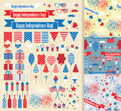 USA independence day fourth july. Vector set. Set of design elements for Independence Day stock illustration