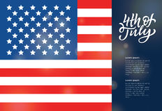USA Independence Day Greeting Card. USA Independence Day - modern vector greeting card with American flag on background, hand drawn calligraphy writing 4th of Stock Images