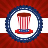 USA independence day with hat. Vector illustration design Royalty Free Stock Photo