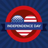 USA independence day with heart. Vector illustration design Royalty Free Stock Photo
