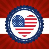 USA independence day with heart. Vector illustration design Stock Photo