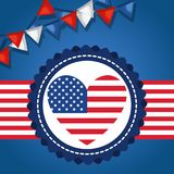 USA independence day with heart. Vector illustration design Stock Photos
