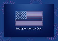 USA Independence Day. Holiday Fourth of July greeting banner. Modern layout with USA neon flag and fireworks.  Royalty Free Stock Photos