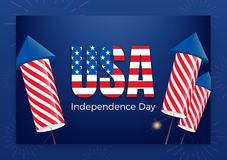 USA Independence Day. Holiday Fourth of July greeting banner. Modern layout with USA typography and fireworks rockets.  Stock Images
