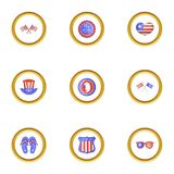 USA independence day icons set, cartoon style. USA independence day icons set. Cartoon style set of 9 USA independence day vector icons for web design Stock Photography