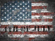 USA independence day illustration with flag on a brick wall Royalty Free Stock Image