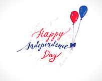 USA Independence Day. Illustration for Fourth of July celebrations. Colorful Blue and Red balloons holding up the inscription Happy Independence Day Royalty Free Stock Photos