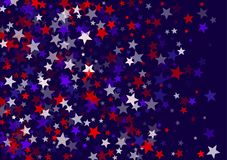 USA Independence Day July 4 stars flying vector banner background in American flag colors. Blue red white falling stars confetti on dark blue background royalty free illustration