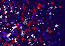 USA Independence Day July 4 stars flying vector banner background in American flag colors. Blue red white falling stars confetti on dark blue background stock illustration